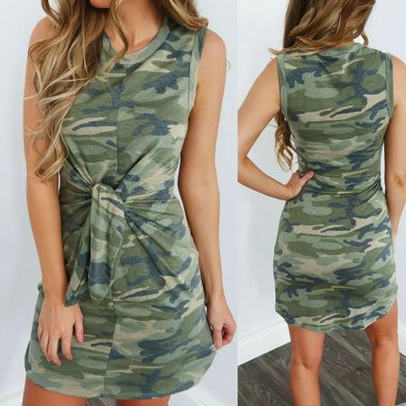 Battle Dress Camouflage (Urkutoba Women Camouflage Short Mini Dress Slim Bodycon Summer Casual Camo Shirt Dress#810 )