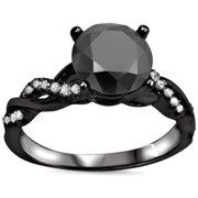 Noori 14k Black Gold 1 1/3ct Black Round-cut Diamond Engagement Ring Size-7.5