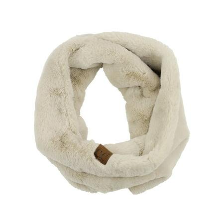 Chanel Cc Logo Scarf (C.C Women's Soft Faux Fur Feel Neck Warmer Collar Infinity Scarf,)
