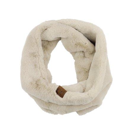 C.C Women's Soft Faux Fur Feel Neck Warmer Collar Infinity Scarf, - Thermal Neck Warmer