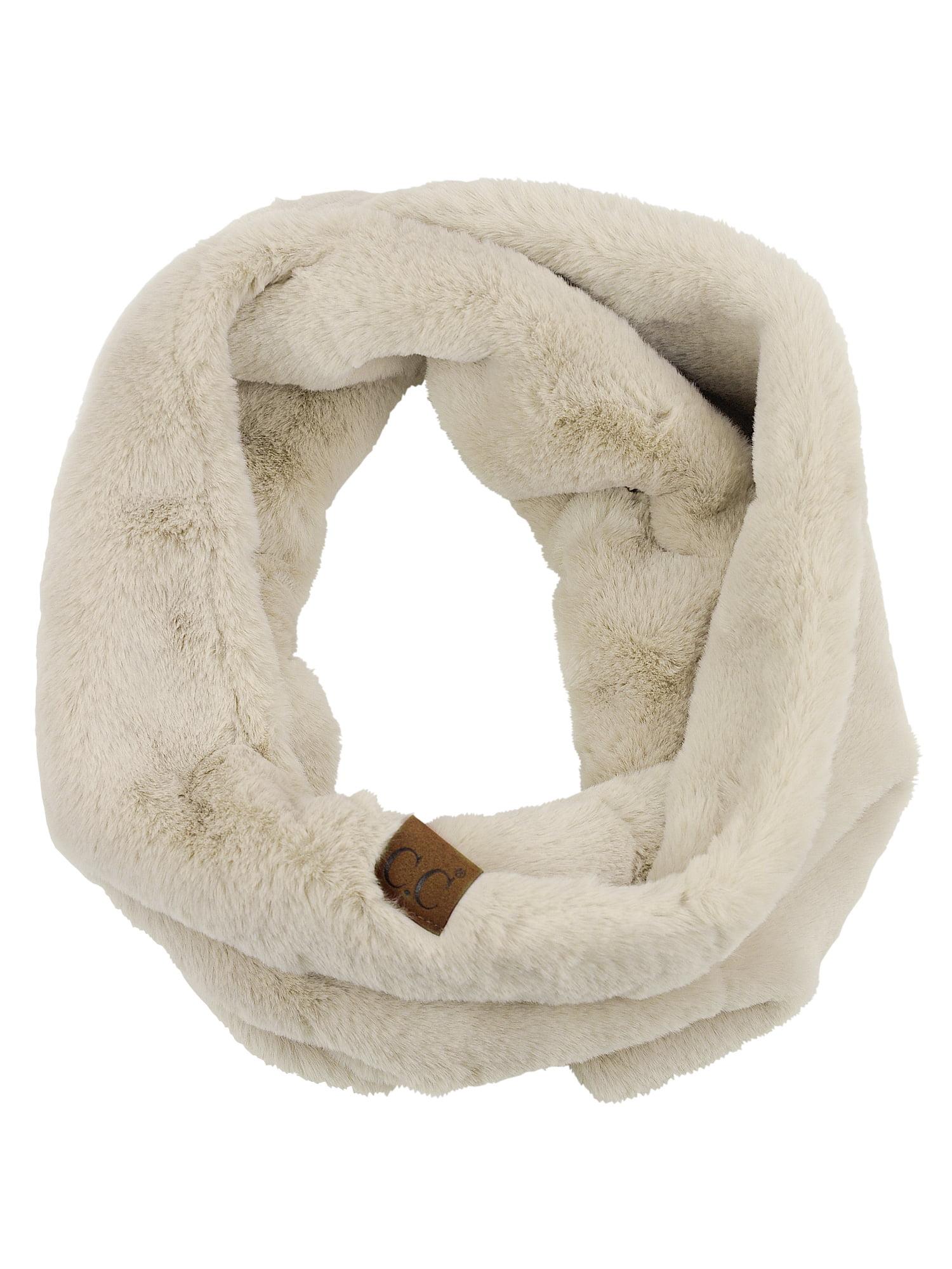 C.C Women's Soft Faux Fur Feel Neck Warmer Collar Infinity Scarf, Beige