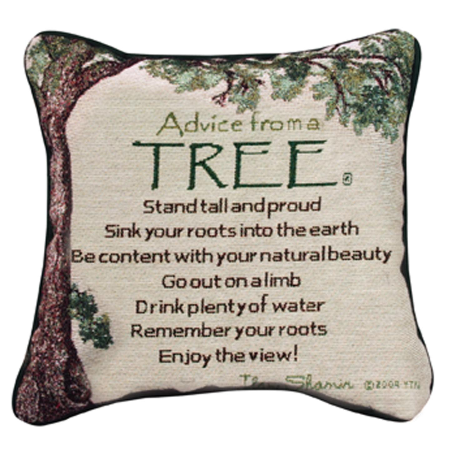 "12.5"" ""Advice from A Tree"" Square Throw Pillow"