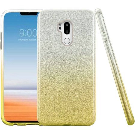 For LG G7 ThinQ Two Tone Glitter Hybrid Case Cover - (Gold Two Tone Case)