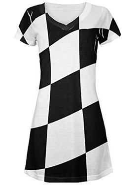 c41c26db236c Product Image Finish Line Checkered Flag Wave All Over Juniors V-Neck Dress