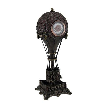 Time Flies Steampunk Hot Air Balloon Clock Tower Statue 12 Inch