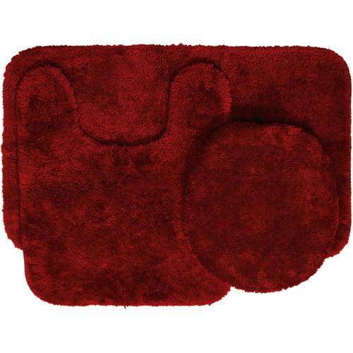 Mainstays Nylon 3 Piece Bath Rug Set Autumn Red Walmart Com