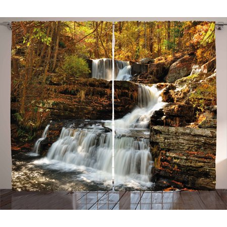 United States Curtains 2 Panels Set, Upper Falls at Delaware Water Gap Autumn Nature Forest Scenery Cascade, Window Drapes for Living Room Bedroom, 108W X 84L Inches, Brown Green White, by Ambesonne ()