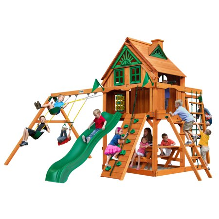 gorilla playsets navigator treehouse wooden swing set with fort add on and monkey bars. Black Bedroom Furniture Sets. Home Design Ideas