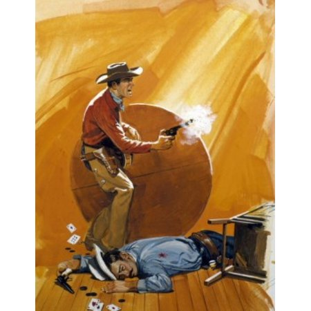 Cowboy Shooting Pistol In Saloon Fight Canvas Art     18 X 24