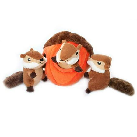 Zippypaws Burrow Squeaky Hide And Seek Plush Dog Toy Chipmunk N Acorn