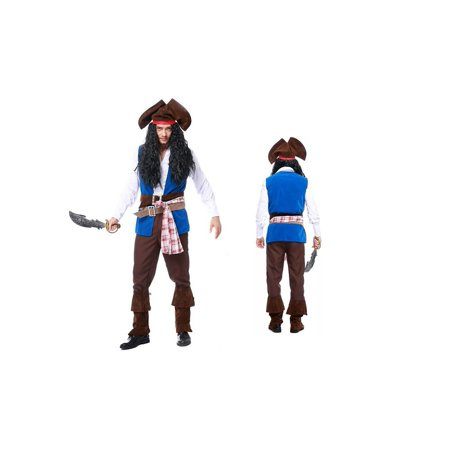 Men's Deluxe Pirate Captain Costume 9 Piece set (M) - Pirate Costume Makeup