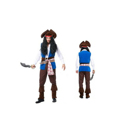 Men's Deluxe Pirate Captain Costume 9 Piece set (M) - Little Girls Pirate Costumes