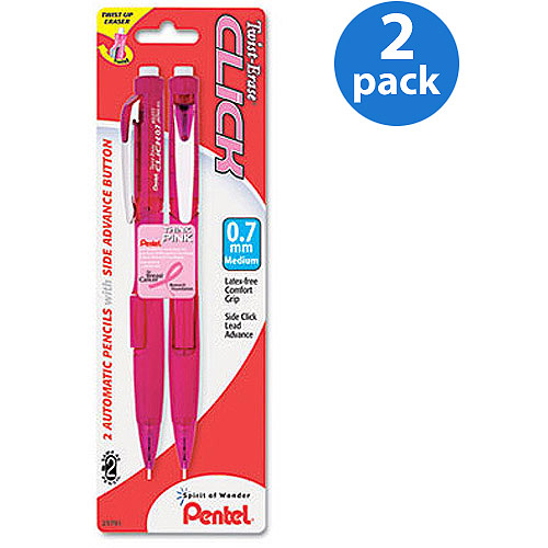 Pentel Pink Ribbon Twist-Erase CLICK Mechanical Pencil, 0.7 mm, 2 Count, 2 Pack