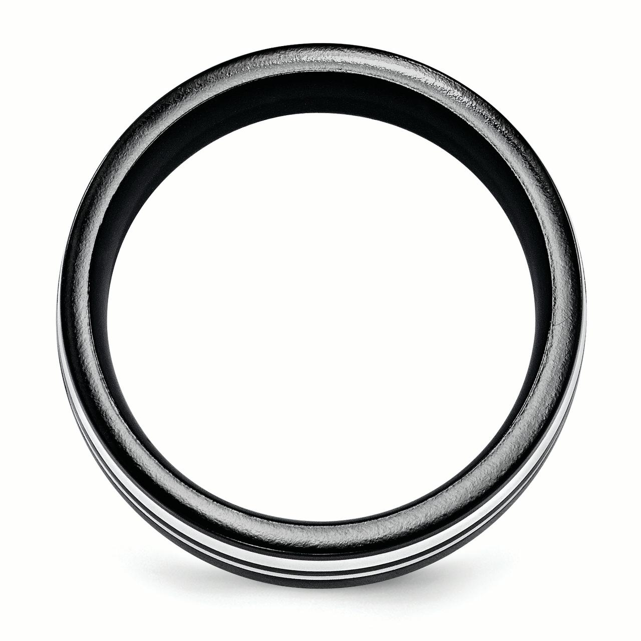 Edward Mirell Black Ti & Sterling Silver 9mm Polished Band Size 8 - image 1 of 3