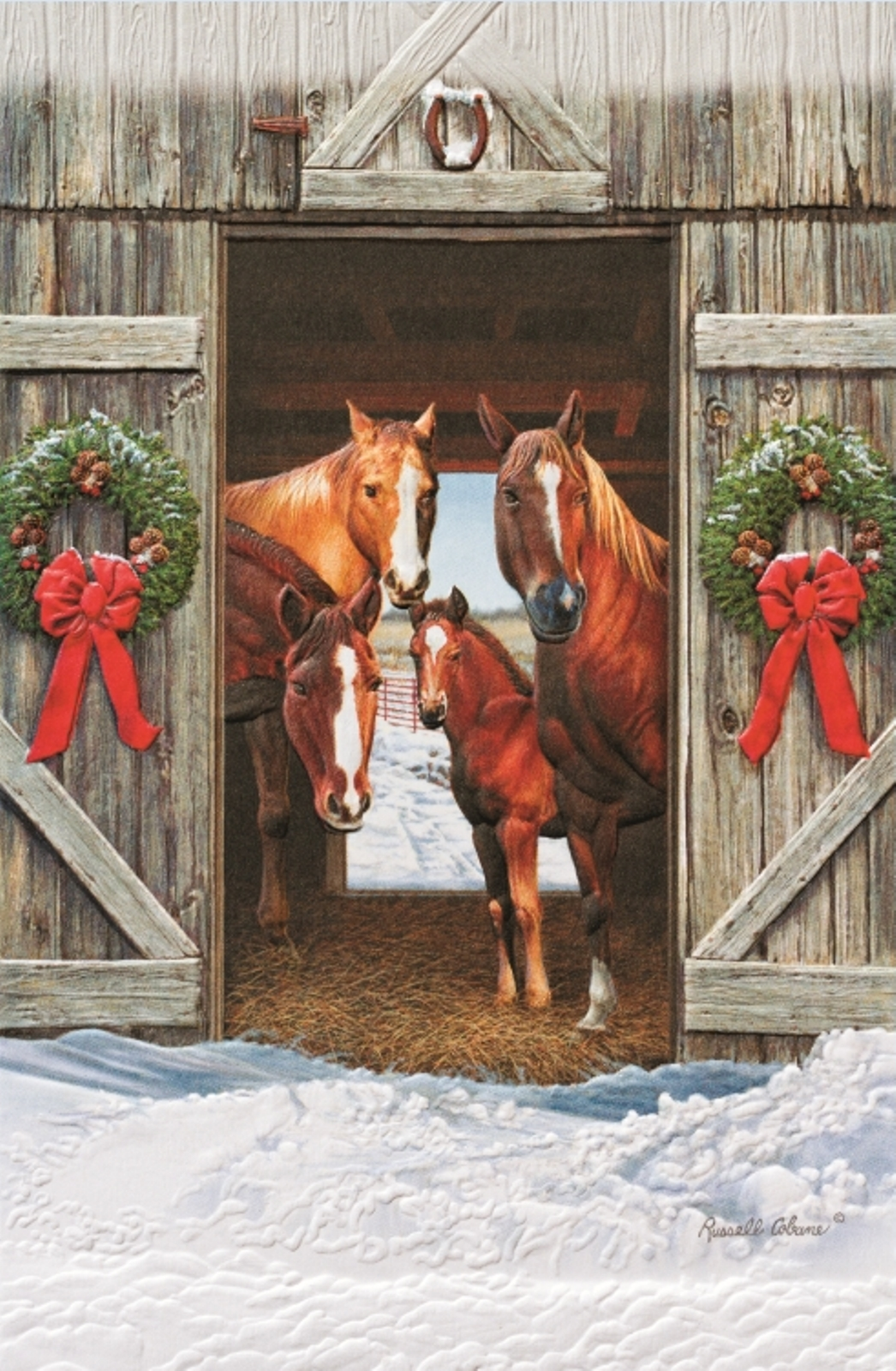 Bright Morning Horses And Colt Christmas Barn 16 Boxed Holiday Cards Envelopes