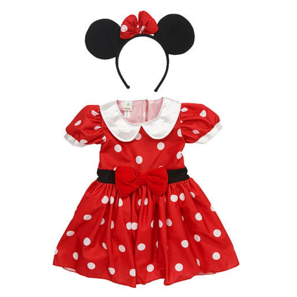 Disney Infant Girls Minnie Mouse Costume Red Polka Dot Baby Dress & Headband by