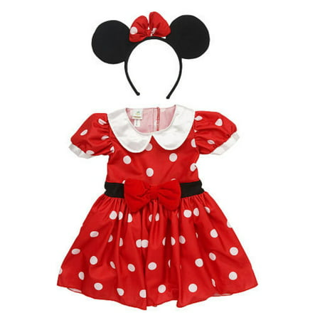 Disney Infant Girls Minnie Mouse Costume Red Polka Dot Baby Dress & Headband](Minnie Mouse Baby Dresses)