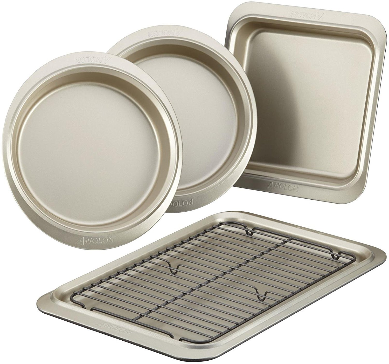 59967 Nonstick Bakeware Set, Onyx Pewter, 5-Piece, Anolon(r) Bakeware features premium-grade construction and... by