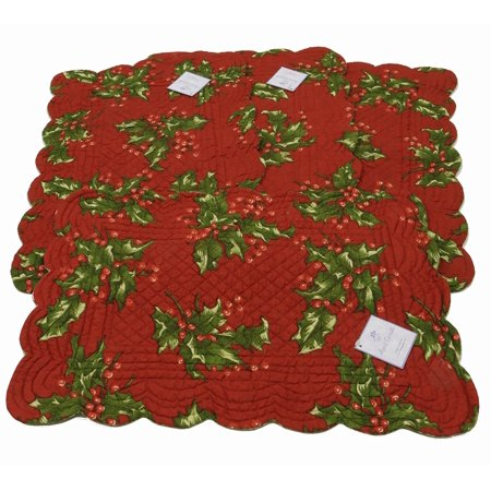 C&F Enterprises - Quilted Reversable Rectangle Scalloped Placemat - Red Holly - Set of 4, The placemat is 13