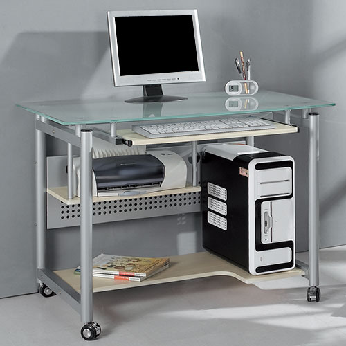 Rolling Computer Desk, Glass And Silver Colored Metal