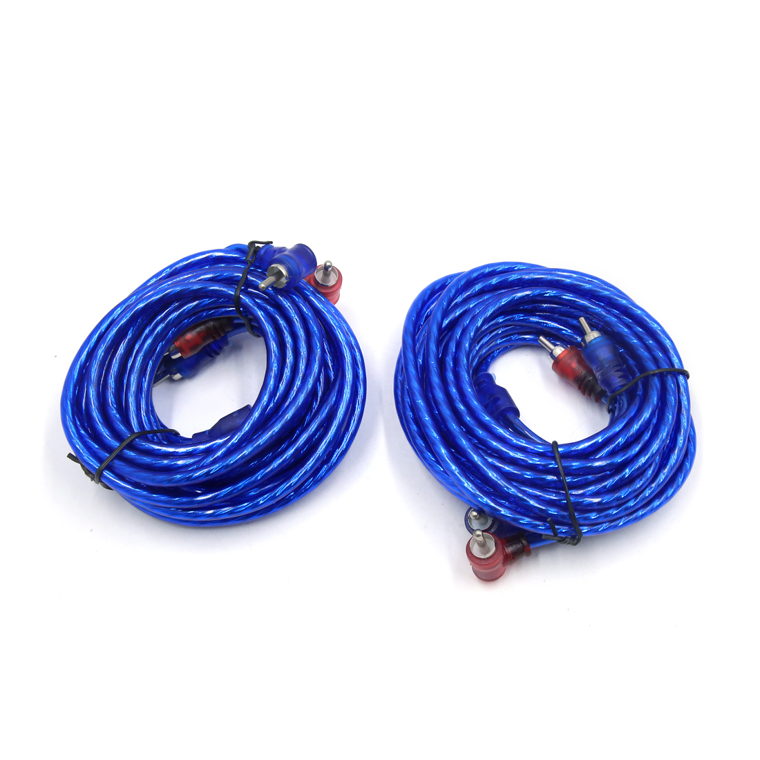 2Pcs 4.5-5m 2 RCA Male to Male Car Stereo Audio System Extension Cable Wire Blue