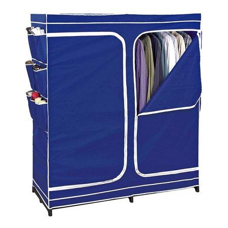 Double Closet Door - Clothes Closet Double Door Storage Closet Seasonal Storage Unit Wardrobe Organizer Easy Zip, Non Woven Breathable Fabric Navy Standing
