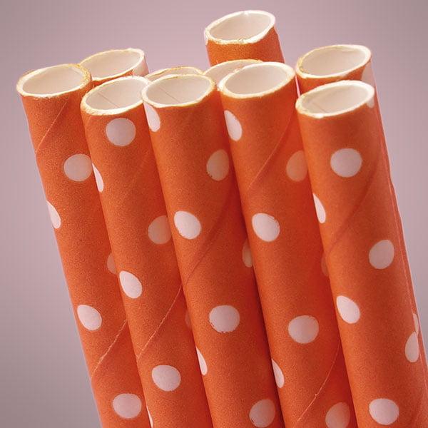 "10 ct. Orange Polka Dot Paper Straw   Quantity: 10   Length - 7 3/4""   Diameter - 1/4"" by Paper Mart"