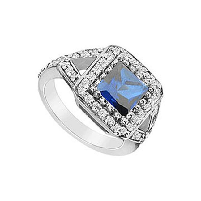 FineJewelryVault UBUK1105W10CZS-118 Diffuse Sapphire and Cubic Zirconia Ring : 10K White Gold - 3. 25 CT TGW - Size: 7