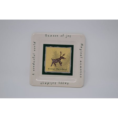 Colonial Candles WH008-652 White Reindeer Pillar Plate
