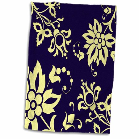 3dRose Stylised Flowers and Swirls in Yellow on Navy Blue - Towel, 15 by 22-inch ()