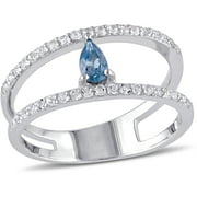 1 Carat T.G.W. London Blue Topaz and White Topaz Sterling Silver Two-Row Ring
