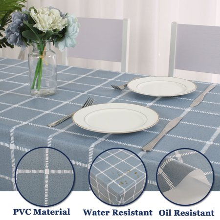 "Tablecloth PVC Oil Stain Resistant Plaid Pattern for Rectangle Table 54""x79"",#1 - image 2 de 7"