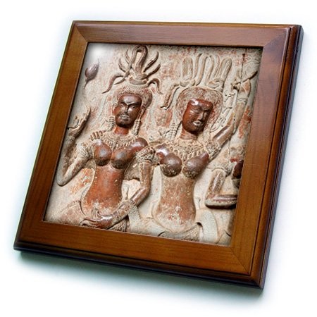 Acetate Temples Frame - 3dRose Devatas in the temple of Angkor Wat. Siem Reap, Cambodia. - Framed Tile, 6 by 6-inch