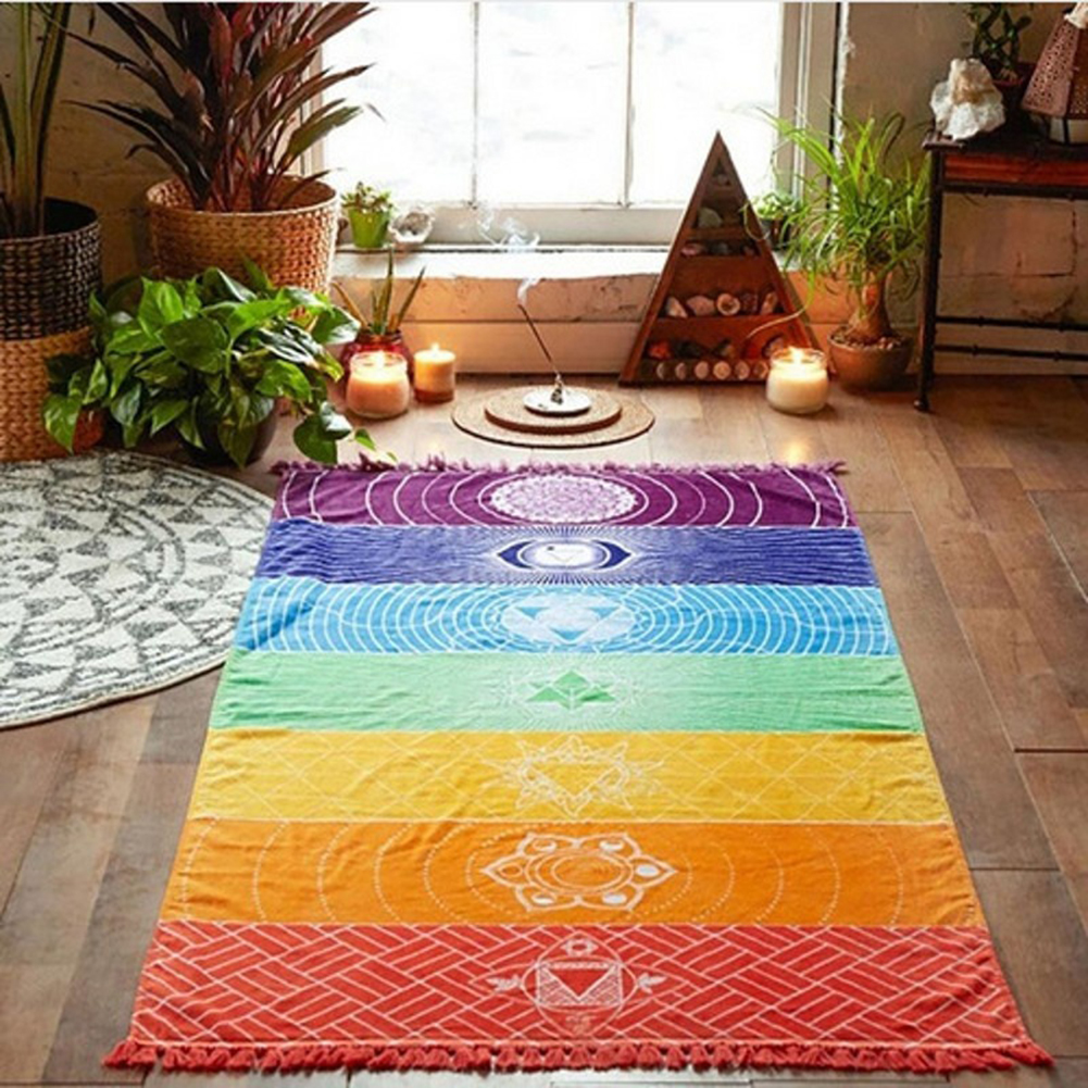 Micelec Rainbow Stripe Bohemia Wall Hanging Blanket Tapestry Summer Beach Towel Yoga Mat
