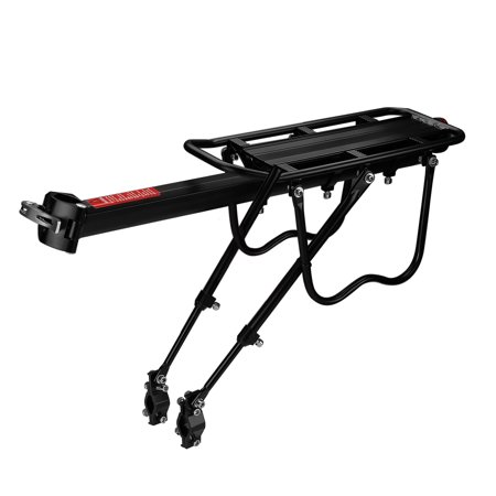Bike Rear Rack Mount - Bicycle Back Seat Pannier Luggage Backpack Cargo Basket Carrier Rack Adjustable Aluminum Alloy for Road MTB Mountain Folding Bike with Red Reflector Lamp 110 lbs