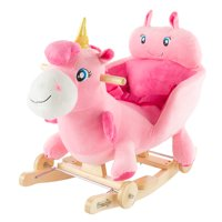 2-in-1 Classic Rocking Horse Plush Animal – Unicorn with Wood Rockers by Happy Trails