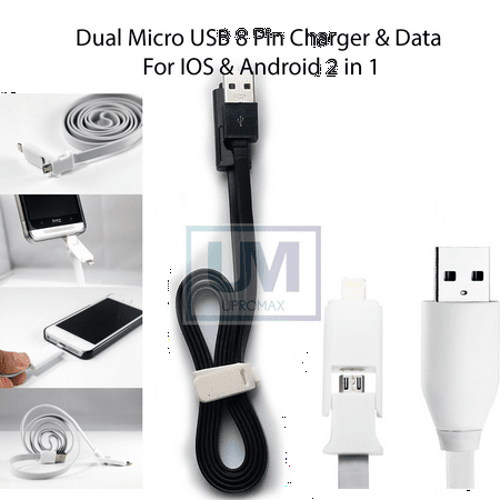 Dual Micro USB Lightning 3 Ft Cable 2-In-1 Charging And Data Sync