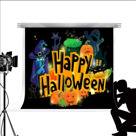 ABPHOTO Polyester Photo Backdrop Happy Halloween Background Cartoon Wallpaper for Fond Studio Photography 7x5ft - Live Halloween Wallpapers For Android