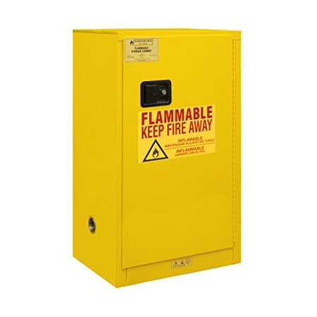 Durham 1016M-50 Welded 16 Gauge Steel Flammable Safety Manual Door Cabinet, 1 Shelf, 16 gal Capacity, 18
