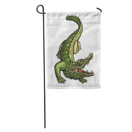 KDAGR Green Gator Ethnic Ornamented Alligator Crocodile Vintage Tribal American Garden Flag Decorative Flag House Banner 12x18 (Ornaments House Flag)