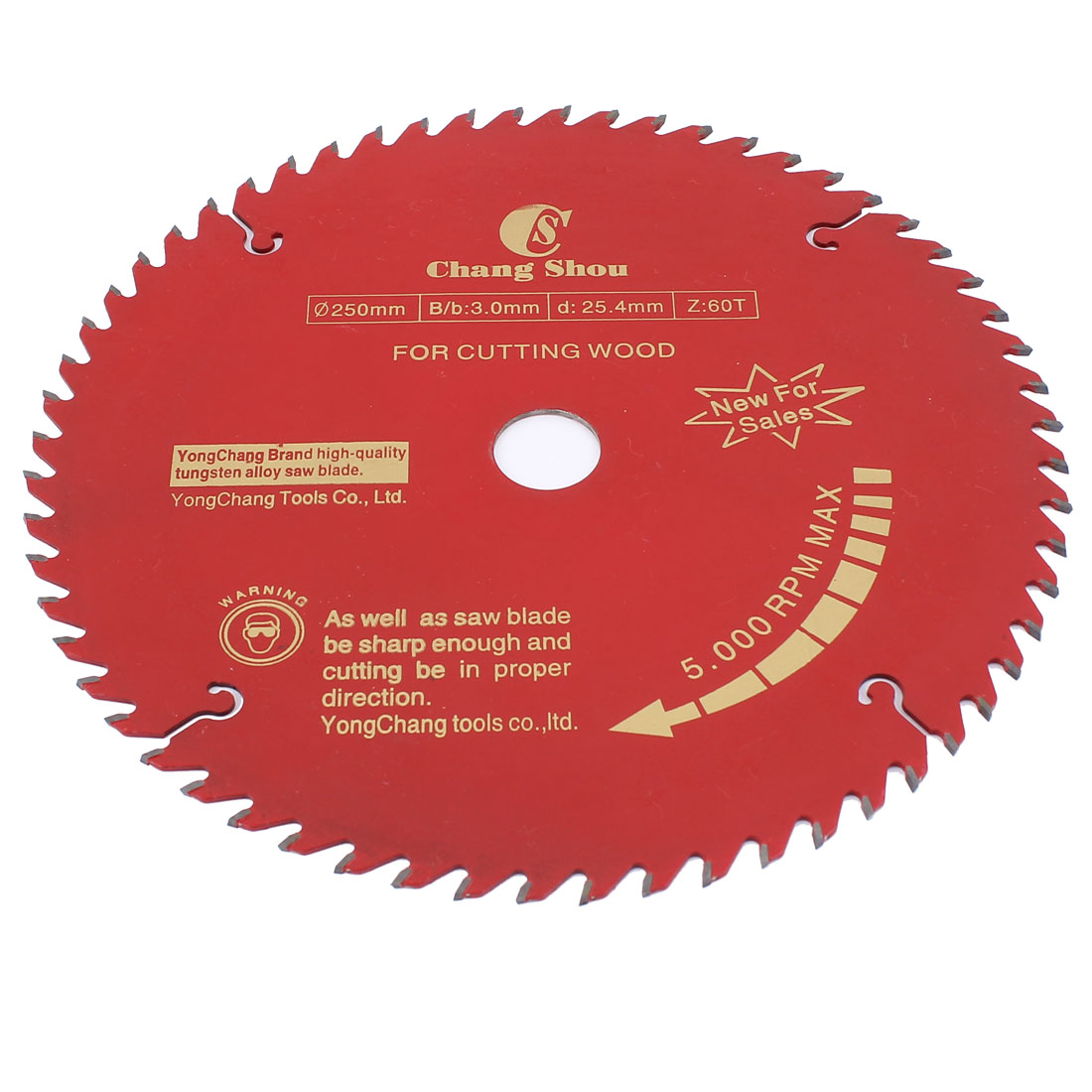 250mm Dia 60T Teeth Slitting Circular Saw Blade Wood Cutter Rotary Tool Red