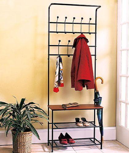 5 X 1 X Metal Entryway Storage Bench with Coat Rack
