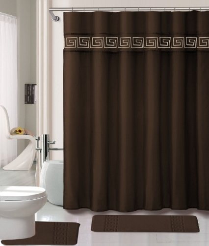 15 Piece Memory Foam Bath Rug Set Bathroom Rugs With Fabric Shower Curtain  And Decorative Rings