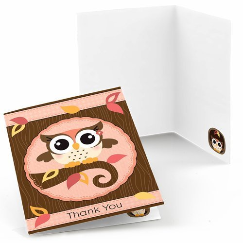 Owl Girl - Baby Shower or Birthday Party Thank You Cards (8 count)