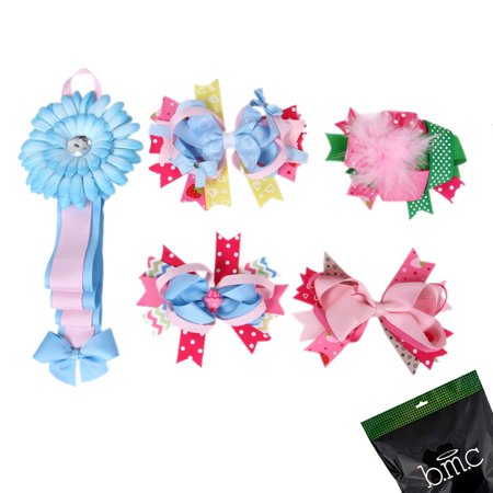 Bundle Monster 5 pc Baby Girls Variety Bow Ribbon Hair Clip Accessory Holder Set