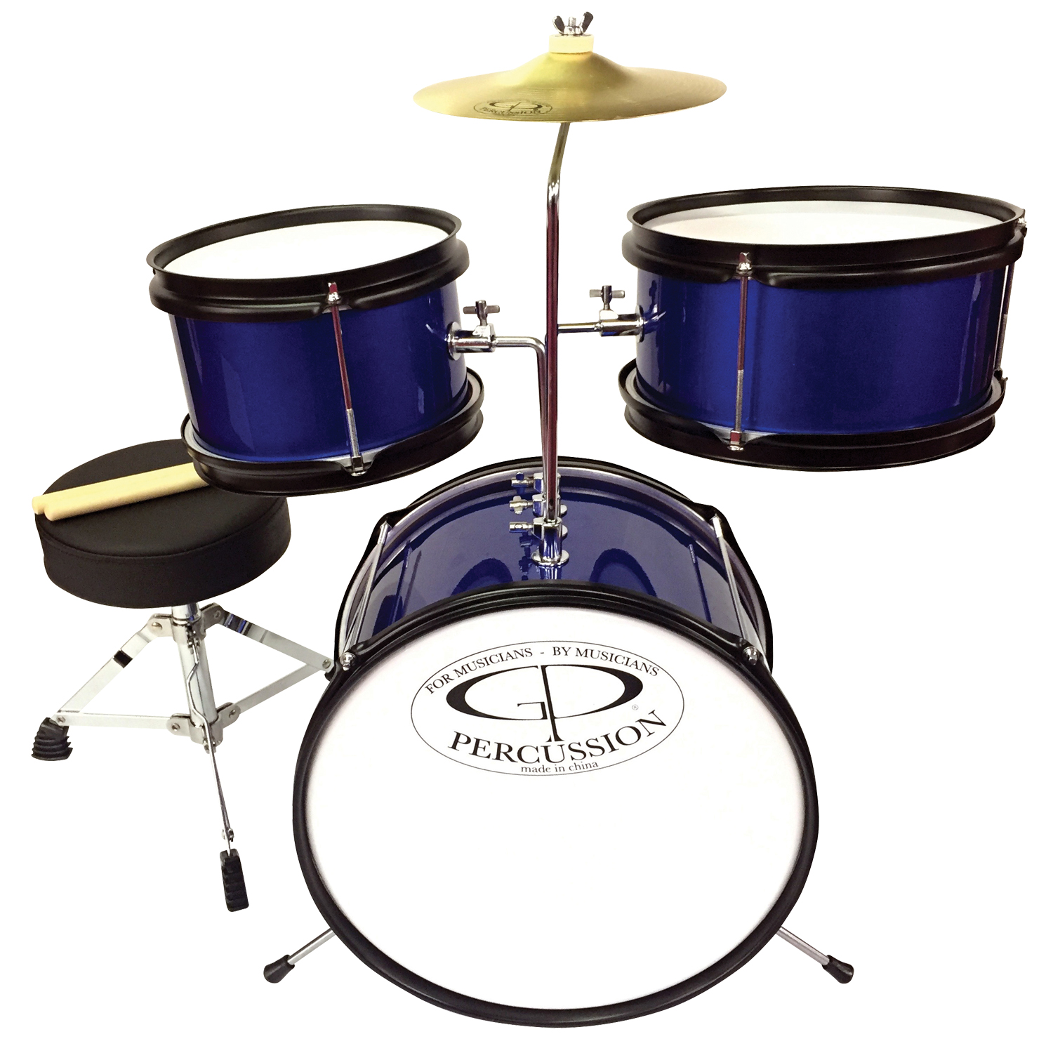 GP Percussion GP40BL 3-Piece Promotional Junior Drum Set in Blue