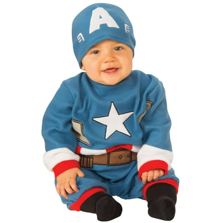 Marvel Classic Captain America Newborn Boys Jumpsuit Halloween - Captain America Halloween Costume For Infants