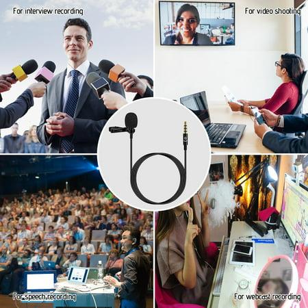 Lavalier Lapel Microphone à pince portable Mic Prise audio 3,5 mm Longueur, 1,5 m Microphone omnidirectionnel à réduction de bruit pour caméra Smartphone - image 5 de 7