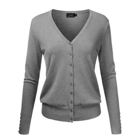 Enimay Women s V-Neck Button Down Long Sleeve Knit Cardigan Sweater Heather  Gray Size Medium a63c919c6