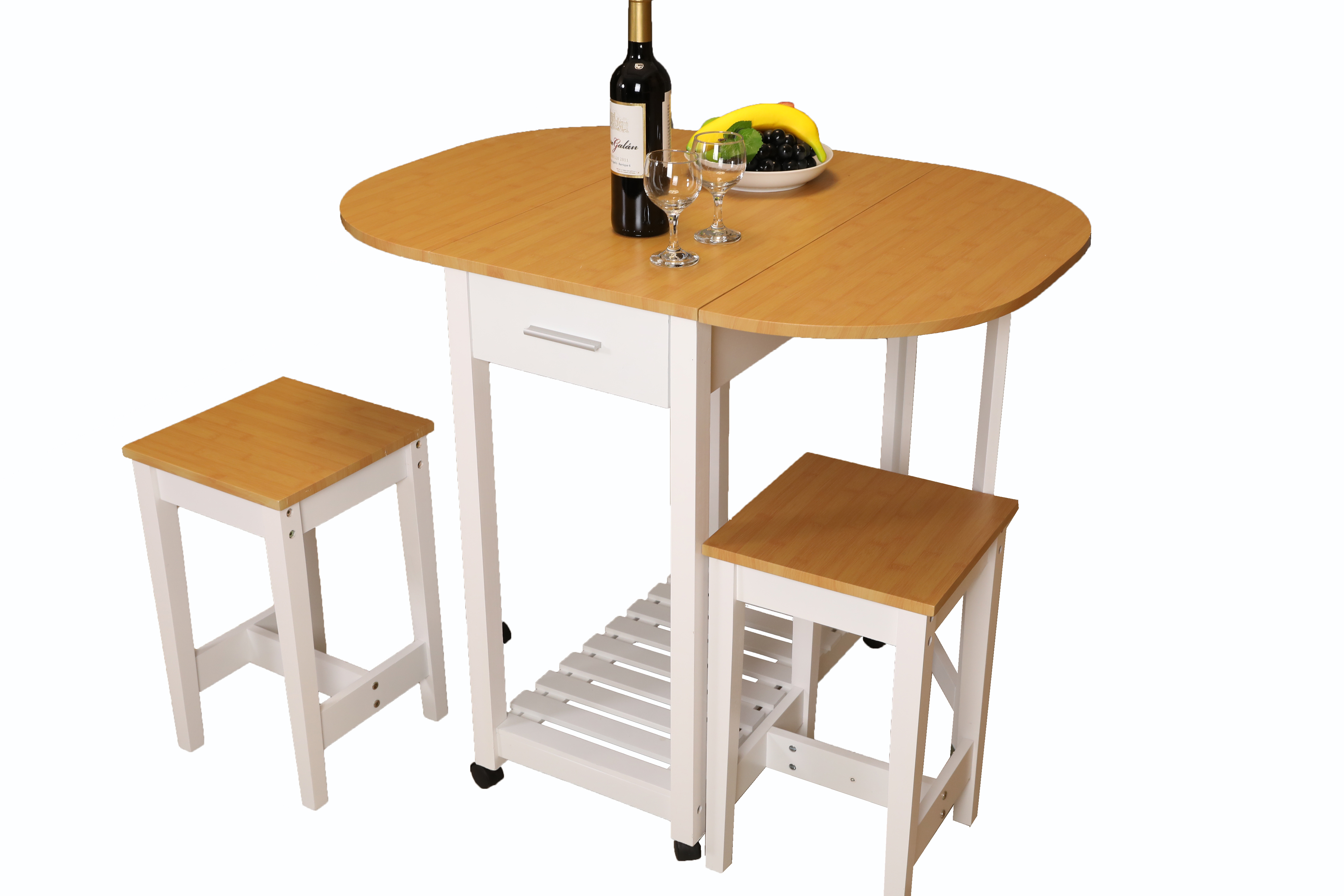 Charmant 3 Piece Kitchen Island Breakfast Bar Set With Casters, Drop Down Island  Table With 2